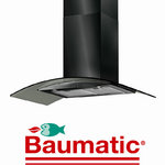 View Item Baumatic BT9.3BGL 90cm Black Steel Glass Cooker Hood