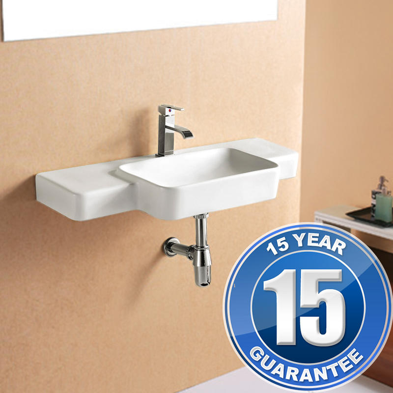 View Item Europa Maxi 1TH Contemporary Ceramic Wall Hung Bathroom Basin Sink 4143