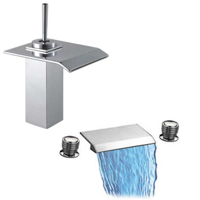taps uk cascade 3 hole bathroom waterfall bath basin tap set