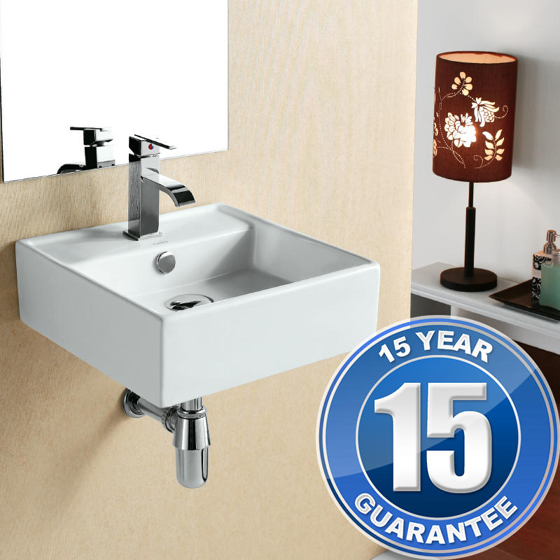 View Item Europa Mali 1TH Contemporary Ceramic Bathroom Wall Hung Basin Sink 4148