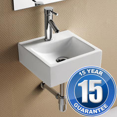 View Item Europa Pavia 1TH Contemporary Ceramic Bathroom Wall Hung Basin Sink 4550