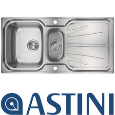 View Item Astini Delta 1.5 Bowl Brushed Stainless Steel Kitchen Sink & Waste AS0039