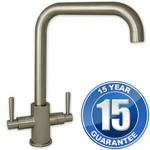 View Item Erise Brushed Steel U Spout Twin Handle Swivel Spout Kitchen Sink Mixer Tap