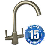 View Item Harris Brushed Steel Twin Handle Swivel Spout Kitchen Sink Mixer Tap