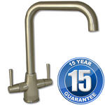 View Item Harris Brushed Steel U Spout Twin Handle Swivel Spout Kitchen Sink Mixer Tap