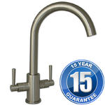 View Item Erise Brushed Steel Twin Handle Swivel Spout Kitchen Sink Mixer Tap