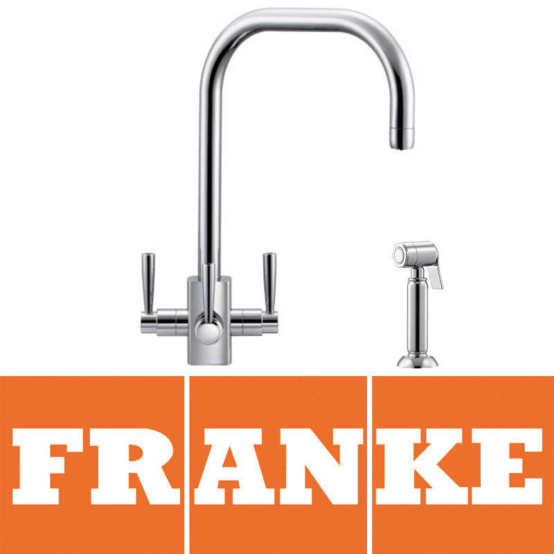 View Item Franke Filterflow Kubus Silk Steel Kitchen Sink Mixer Tap & Side Spray