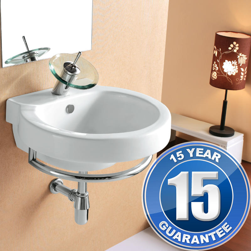 View Item Europa Vago 1TH Contemporary Ceramic Wall Hung Bathroom Basin Sink & Towel Rail
