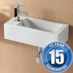 View Item Europa Mito 1TH Contemporary Ceramic Bathroom Wall Hung Basin Sink Left 4127