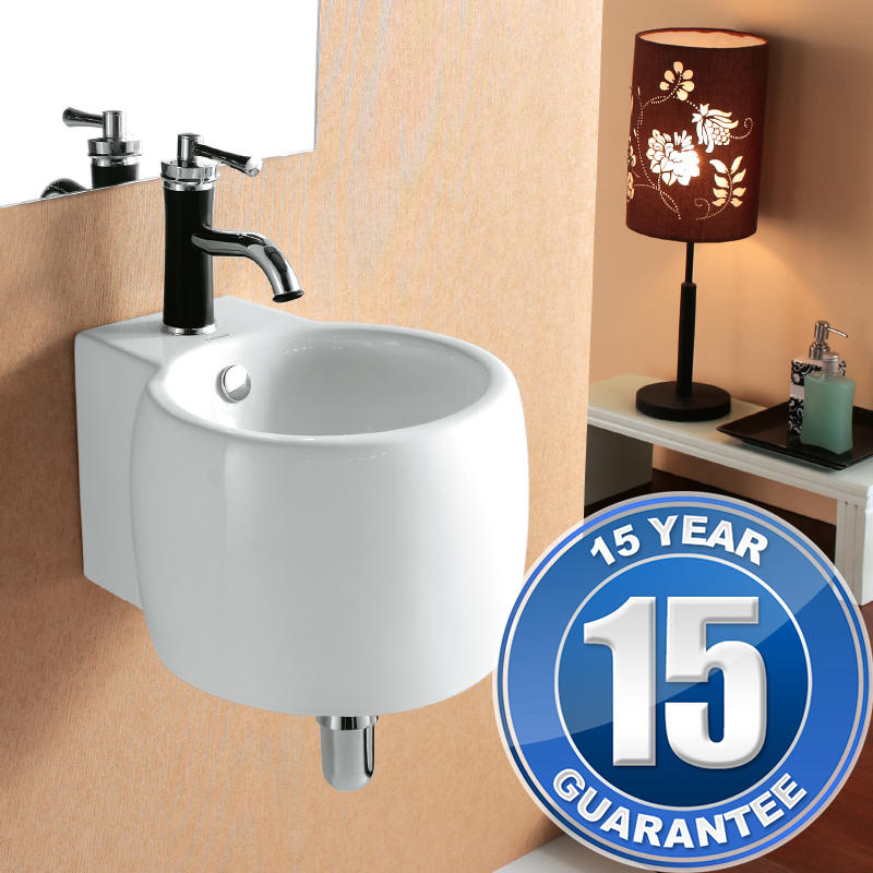 View Item Europa Leon 1TH Contemporary Ceramic Bathroom Wall Hung Basin Sink 4078