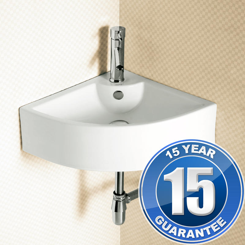 View Item Europa Denver Wall Hung Corner Bathroom Basin Sink