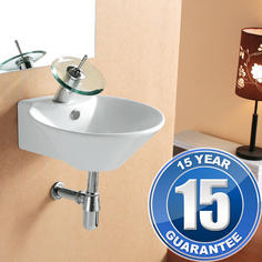 View Item Europa Atlantic 1TH Contemporary Ceramic Bathroom Wall Hung Basin Sink 4036