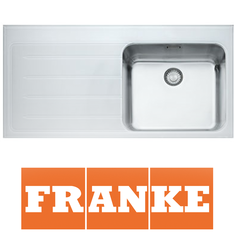 View Item Franke Epos 1.0 Bowl White Glass Stainless Steel Kitchen Sink &amp; Waste LHD EOV611