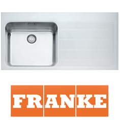View Item Franke Epos 1.0 Bowl White Glass Stainless Steel Kitchen Sink &amp; Waste RHD EOV611