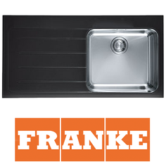 View Item Franke Epos 1.0 Bowl Black Glass Stainless Steel Kitchen Sink & Waste LHD EOV611