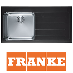 View Item Franke Epos 1.0 Bowl Black Glass Stainless Steel Kitchen Sink & Waste RHD EOV611