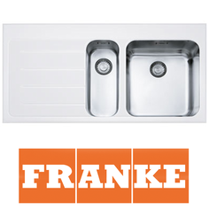 View Item Franke Epos 1.5 Bowl White Glass Stainless Steel Kitchen Sink & Waste LHD EOV651