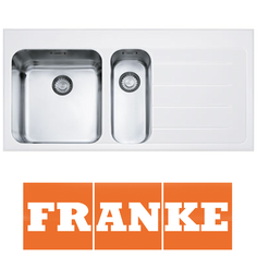 View Item Franke Epos 1.5 Bowl White Glass Stainless Steel Kitchen Sink &amp; Waste RHD EOV651