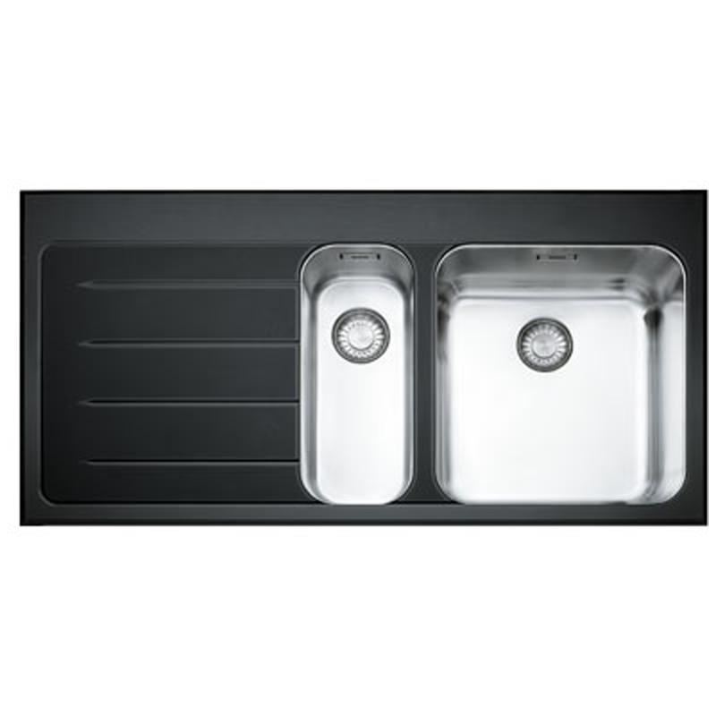 franke epos 1 5 bowl black glass stainless steel kitchen