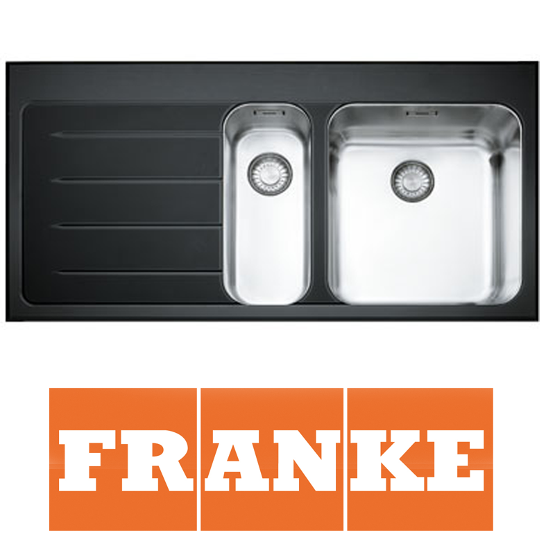 Franke Epos 1 5 Bowl Black Glass Stainless Steel Kitchen Sink Waste LHD