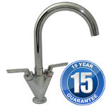 View Item Saturn Chrome Twin Handle Swivel Spout Kitchen Sink Mixer Tap B6008