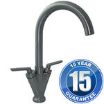 View Item Saturn Brushed Steel Twin Handle Swivel Spout Kitchen Sink Mixer Tap B6008BS