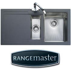 View Item Rangemaster Cubix Gemini 1.5 Bowl Neostone Granite Grey Kitchen Sink LHD
