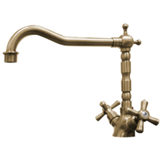 Traditional Old Bronze Twin Handle Swivel Spout Kitchen Sink Mixer Tap 25411B