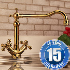 View Item Traditional English Gold Twin Handle Swivel Spout Kitchen Sink Mixer Tap 25441G