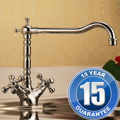 View Item Traditional Chrome Twin Handle Swivel Spout Kitchen Mixer Tap