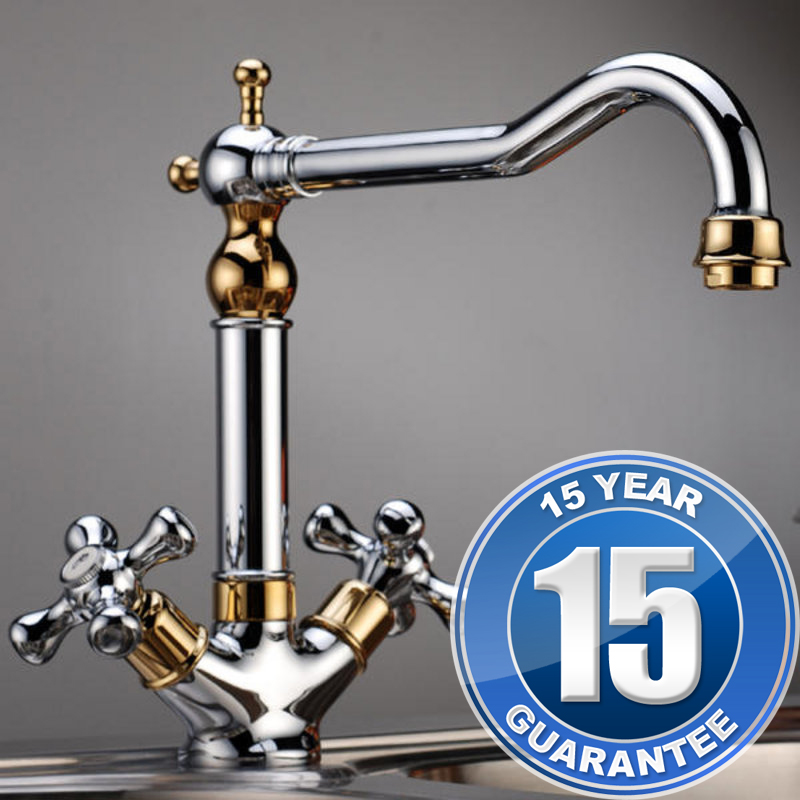 Traditional gold chrome twin handle swivel spout kitchen for Traditional kitchen taps