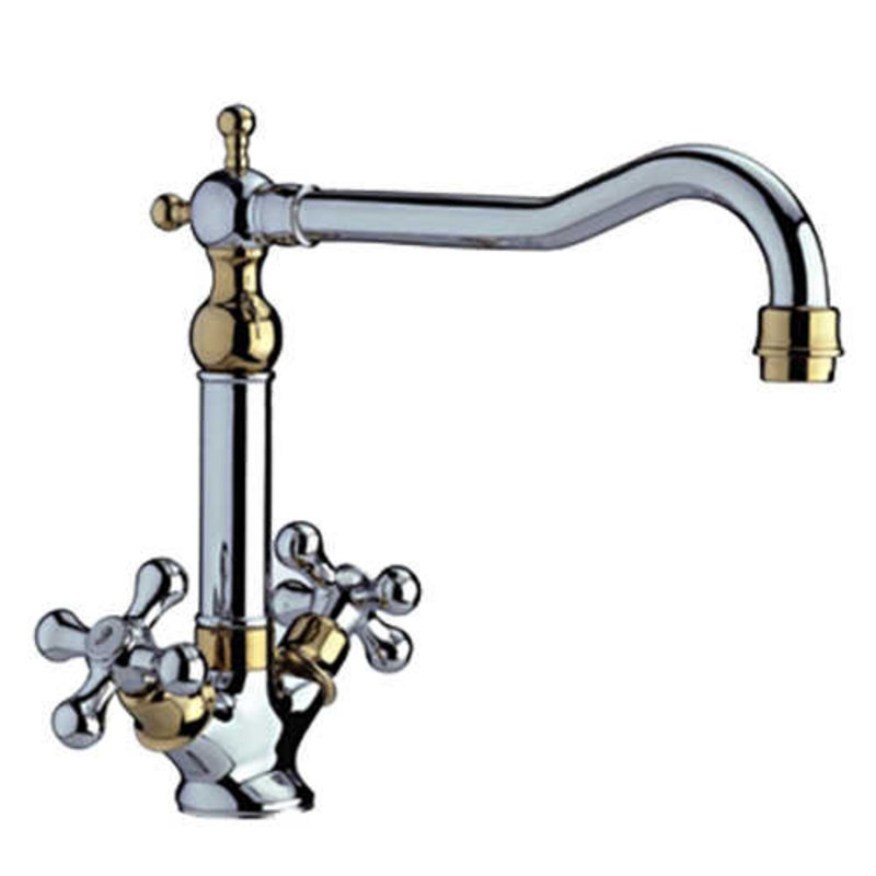 Traditional Gold & Chrome Twin Handle Swivel Spout Kitchen Sink Tap 25441GC Preview