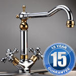 View Item Traditional Gold &amp; Chrome Twin Handle Swivel Spout Kitchen Sink Tap 25441GC