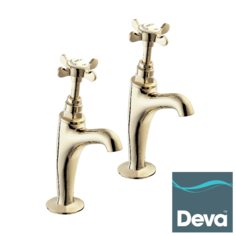 View Item Deva Coronation BS1010 Gold High Neck Kitchen Sink Pillar Taps CR27A/501