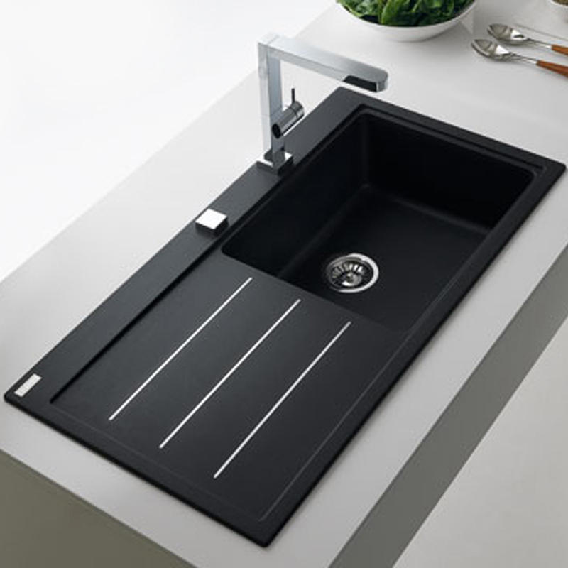 Franke Onyx Granite Sink : Franke Mythos 1.0 Bowl Granite Onyx Black Kitchen Sink & Waste MTG611 ...