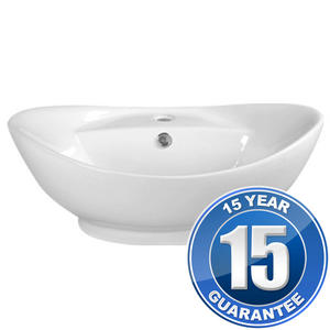 Europa Maltese 1TH White Ceramic Counter Top Bathroom Basin Sink A7