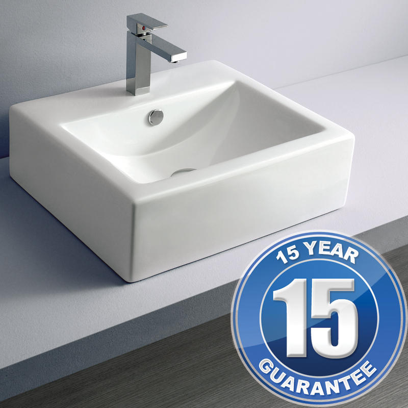 View Item Europa Turin 1TH White Ceramic Counter Top Bathroom Basin Sink A20