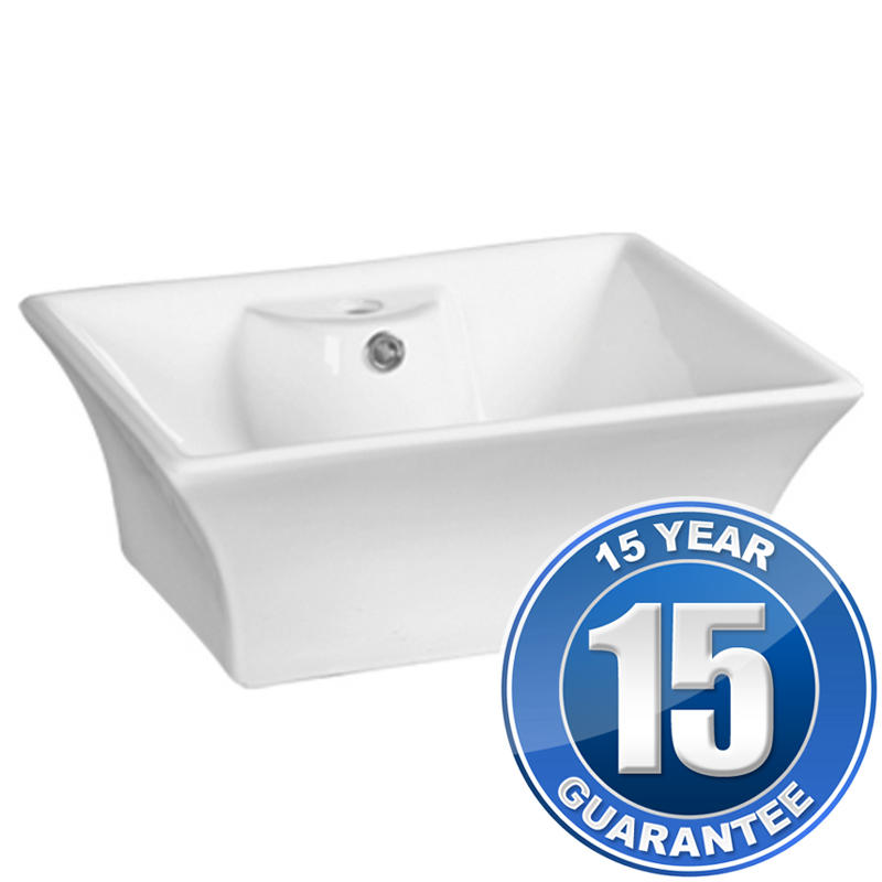 View Item Europa Santos 1TH White Ceramic Counter Top Bathroom Basin Sink A11