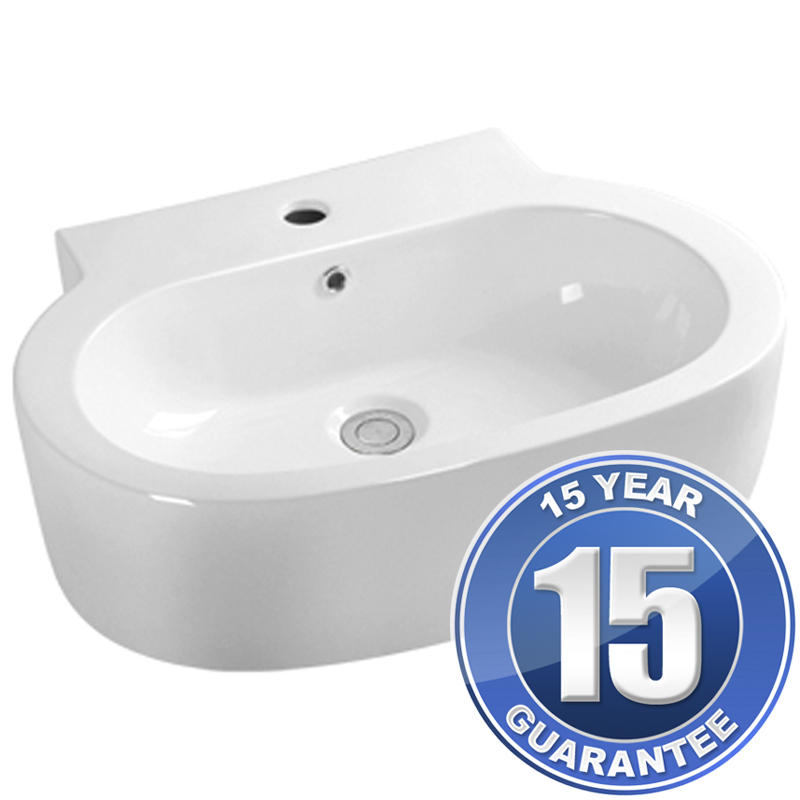 View Item Europa Mylos 1TH White Ceramic Counter Top Bathroom Basin Sink A66