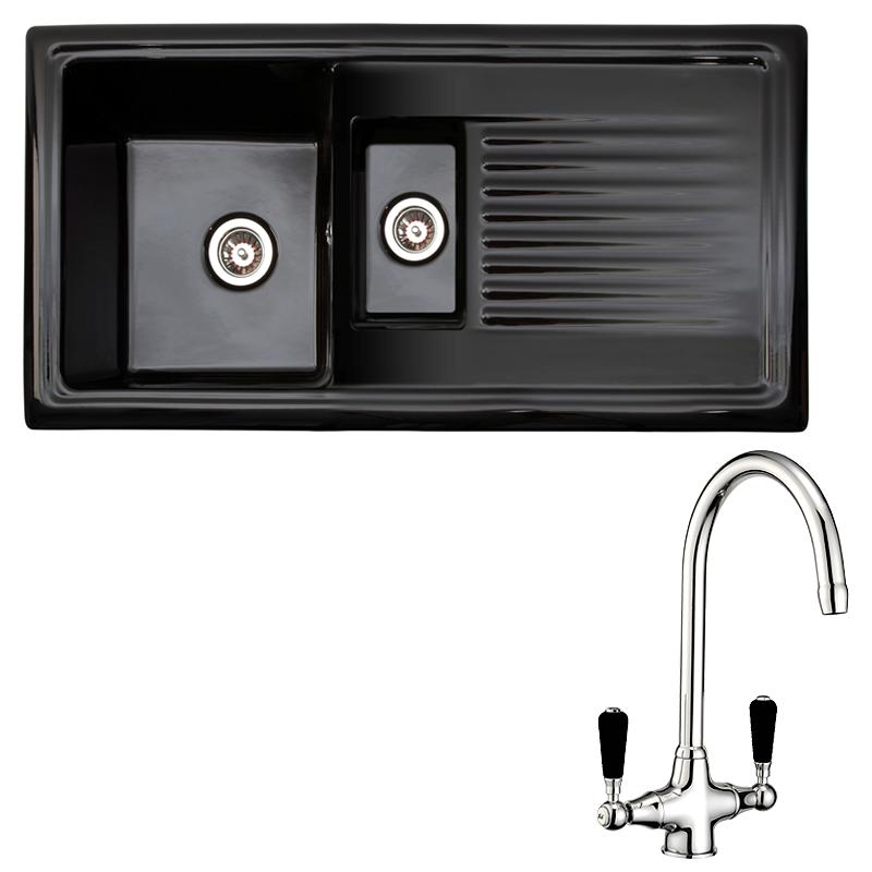 Black Kitchen Sink Taps Uk: Reginox Black Ceramic 1.5 Bowl Kitchen Sink & Tap Pack