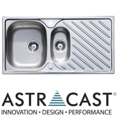 View Item Astracast Diagonal 1.5 Bowl Satin Stainless Steel Kitchen Sink & Waste