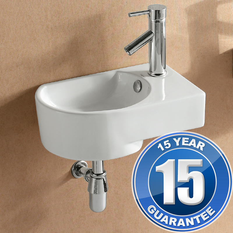 View Item Europa Largo 1TH Contemporary Ceramic Bathroom Wall Hung Basin Sink Right 4295