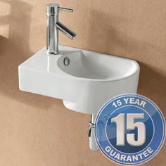 View Item Europa Largo 1TH Contemporary Ceramic Bathroom Wall Hung Basin Sink Left 4295A