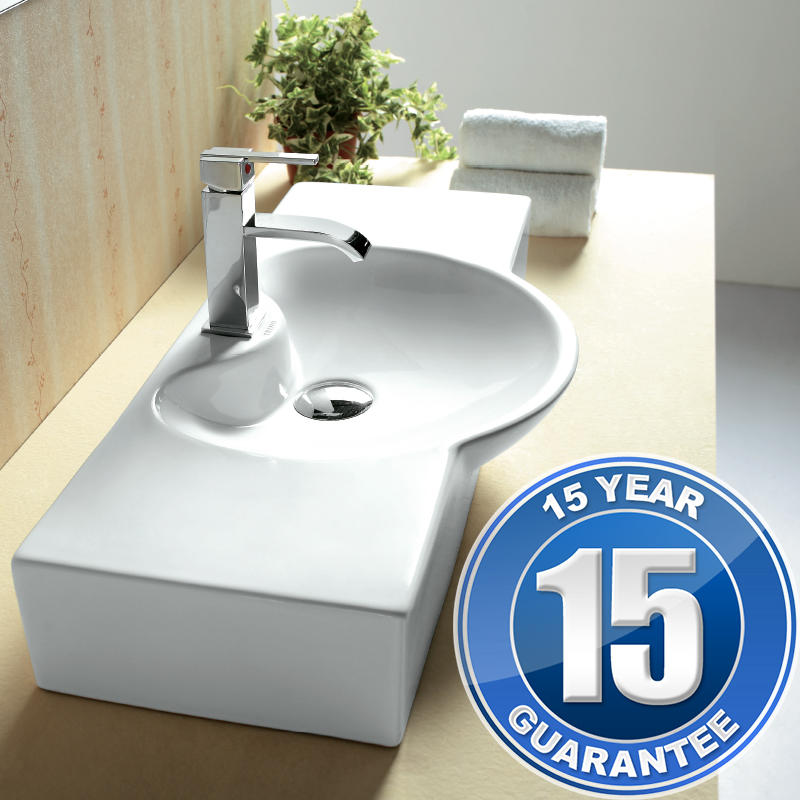 View Item Europa Saga 1TH Contemporary Ceramic Wall Hung Bathroom Basin Sink 4280C
