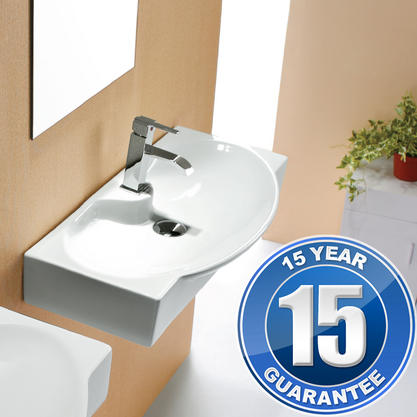 Europa Pacific 1TH Contemporary Ceramic Bathroom Wall Hung Basin Sink 4282A Preview