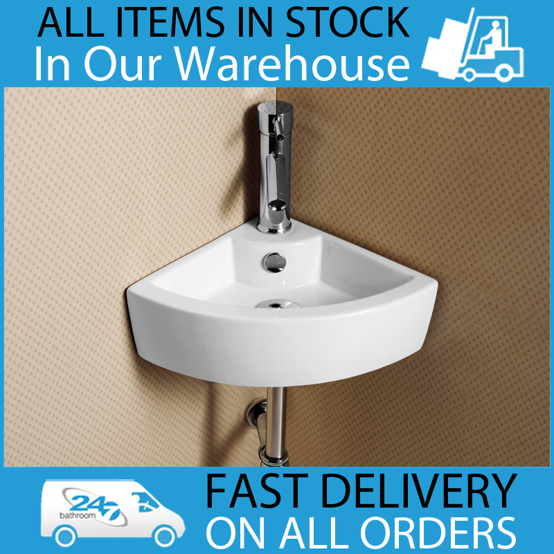 Cloakroom Corner Sink : ... 1TH White Cloakroom Bathroom Corner Wash Basin Sink Enlarged Preview