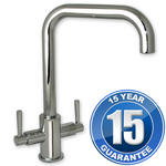 View Item Erise Chrome U Spout Twin Handle Swivel Spout Kitchen Sink Mixer Tap
