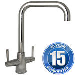 View Item Harris Chrome U Spout Twin Lever Swivel Spout Kitchen Sink Mixer Tap