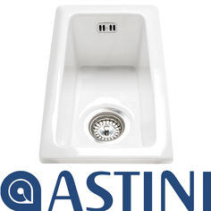 View Item Astini Hampton 50 0.5 Bowl White Ceramic Undermount Kitchen Sink &amp; Waste