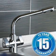 View Item Targa Chrome Twin Handle Swivel Spout Kitchen Sink Mixer Tap 7020
